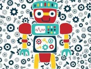 导航机器人动画片在螺栓和坚果背景的