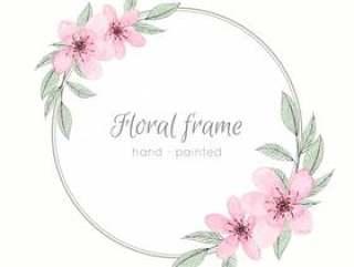 与淡色花的水彩框架