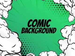 漫画背景与云框架波普艺术