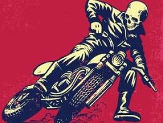 递骑葡萄酒摩托车的头骨图画