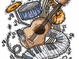 与仪器在手中被画的样式的音乐背景