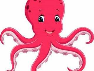 逗人喜爱的章鱼动画片的例证