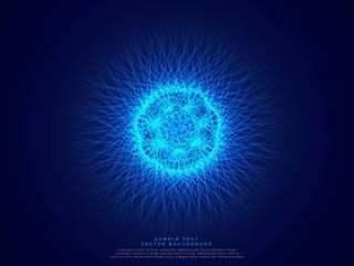 蓝色抽象科学背景与发光的原子能