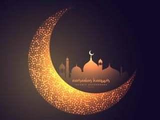 美丽的月亮和清真寺设计