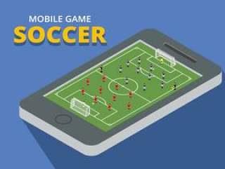 手机游戏足球等轴测图