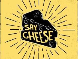 手绘矢量奶酪插画