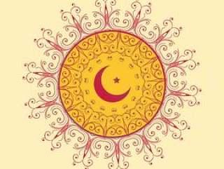 伊斯兰装饰背景与月亮和星星