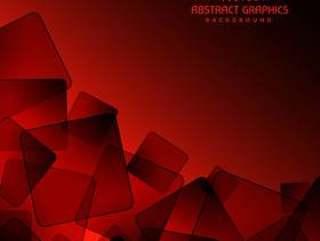 红色背景与抽象的黑色正方形形状