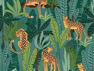 无缝模式与豹子和热带树叶。