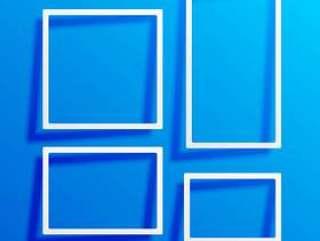 与白色边框框架的蓝色背景