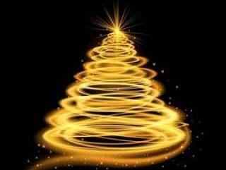 金发光的圣诞树