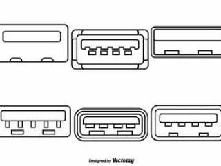 向量组的USB端口线样式图标