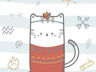 逗人喜爱的猫部族boho动画片乱画动物