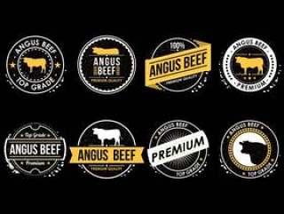 安格斯牛肉标签矢量