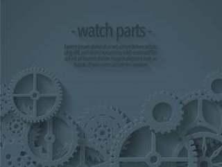 矢量背景与平坦的手表零件模板