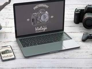 Stationery mockup with photography concept and devices