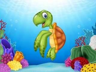 与美好的水下的世界的动画片乌龟