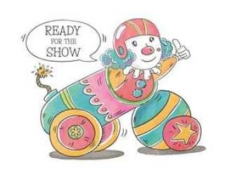 在大炮里面的滑稽的马戏团小丑微笑