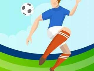 现代简约法国足球运动员传递球与渐变背景矢量图