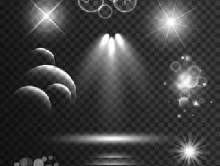 一套透明的灯光效果和闪烁的镜头光晕b