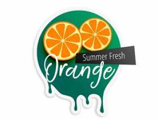 夏季的橙色水果标签