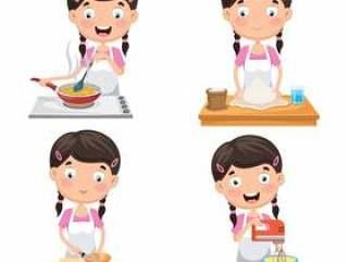 孩子的传染媒介例证在厨房的