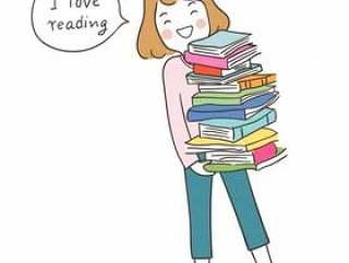 画愉快的女孩拿着书并且说我爱读书