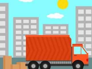 与移动卡车矢量图的家搬迁