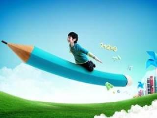 乘铅笔飞翔的儿童psd分层