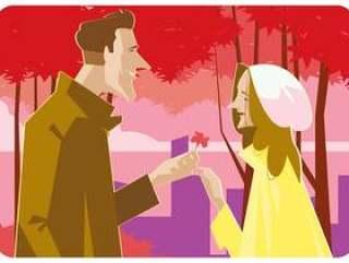 浪漫的情侣在春天矢量