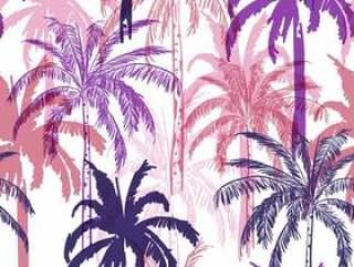 森林与多彩的棕榈树