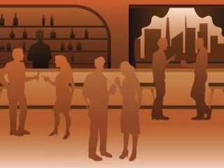 豪华拥挤的酒吧例证