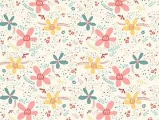 可爱涂鸦热带花卉图案