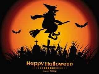 与幽灵般的女巫剪影的快乐万圣节插图