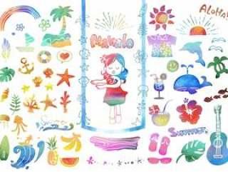 明信片的热带插图集(水彩颜色)
