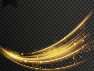 矢量透明波光效果背景在金色的颜色