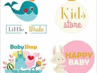 儿童商店或玩具店标志集。矢量图