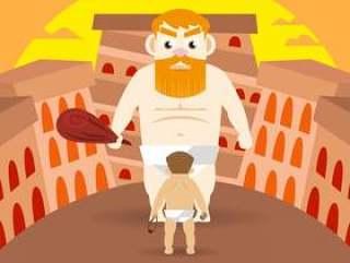 大卫和巨人传染媒介例证