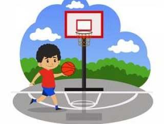 在法庭上打篮球的孩子