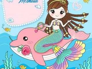 美人鱼坐在粉红色的海豚身上