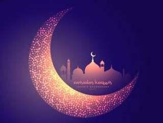 创意月亮和发光的清真寺设计