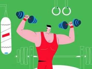 健身房传染媒介例证的男性英俊的爱好健美者