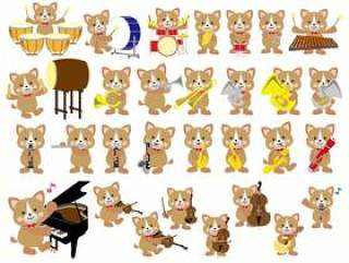 狗设置音乐音乐一岁新年卡!