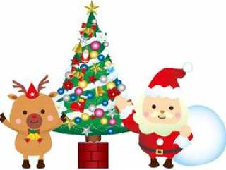 圣诞老人和驯鹿和圣诞树