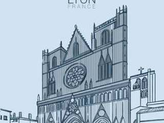 里昂中世纪地标矢量图
