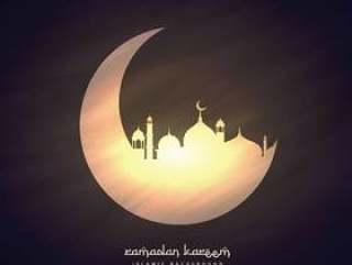 月亮和清真寺斋月贾巴尔背景