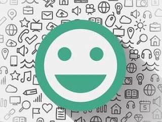 绿色笑脸社交媒体背景