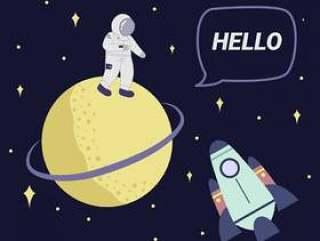 宇航员从土星向量问好