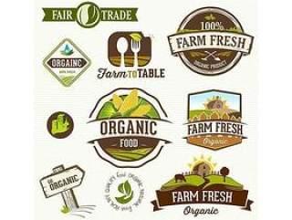 时尚绿色农场图标标签