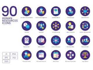 90人力资源招聘和人员配置图标,90个人力资源图标